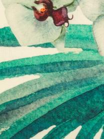Outdoor-Kissenhülle Laos mit tropischem Print, 100% Dralon (Polyacryl), Beige, Mehrfarbig, 40 x 40 cm