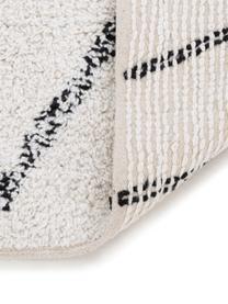 Teppich Firre mit Muster, 95% Baumwolle, 5% andere Faser, Gebrochenes Weiß, Schwarz, B 200 x L 300 cm (Größe L)