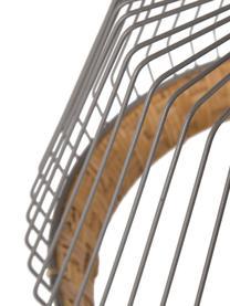 Lampada a sospensione in rattan Birdy, Paralume: rattan, metallo, Baldacchino: metallo verniciato, Paralume: rattan, grigio chiaro Fissaggio: legno dell'albero della gomma, Ø 38 x Alt. 27 cm