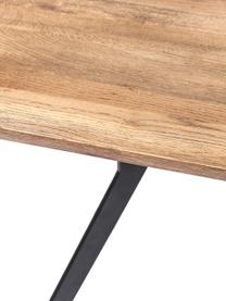 Esstisch Downtown mit Massivholzplatte, Füße: Metall, pulverbeschichtet, Tischplatte: Eichenholz, geölt, Füße: Schwarz<br>Tischplatte: Eiche, B 220 x T 100 cm