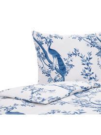 Parure copripiumino in percalle Annabelle, Tessuto: percalle, Blu, bianco, 155 x 200 cm
