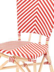 Krzesło ogrodowe Bistrot, Tapicerka: tkanina, Stelaż: rattan, Czerwony, biały, S 59 x G 52 cm