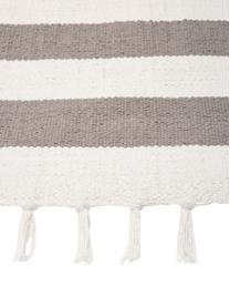Tappeto in cotone a righe color grigio/bianco tessuto a mano Blocker, 100% cotone, Bianco crema/grigio chiaro, Larg. 200 x Lung. 300 cm (taglia L)