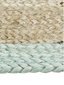 Handgefertigter Jute-Teppich Shanta mit taubenblauem Rand, 100% Jute, Beige, Taubenblau, B 80 x L 150 cm (Größe XS)