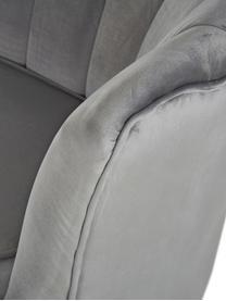 Samt-Sessel Oyster in Grau, Bezug: Samt (Polyester) Der hoch, Gestell: Massives Pappelholz, Sper, Füße: Metall, galvanisiert, Samt Grau, B 81 x T 78 cm