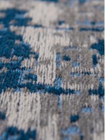 Alfombra Griff, Parte delantera: 85%algodón, 15%poliéste, Parte trasera: mezcla de algodón, recubi, Azul, gris, An 80 x L 150 cm (Tamaño XS)