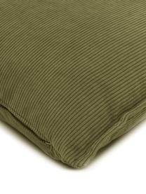 Cuscino arredo in velluto a coste verde Lennon, Rivestimento: velluto a coste (92% poli, Verde, Larg. 60 x Lung. 60 cm