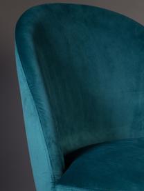 Samt-Polsterstuhl Barbara, Bezug: 100% Polyestersamt, Beine: Buchenholz, lackiert, Bezug: Petrolblau Beine: Walnussbraun, 51 x 85 cm