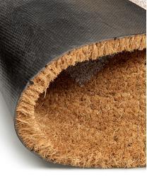 Fußmatte Love, Flor: Kokosfaser, Flor: Beige, Weiß Rücken: Schwarz, 40 x 60 cm