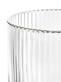 Handgefertigte Wassergläser Minna mit Rillenrelief und Silberrand, 4 Stück, Glas, mundgeblasen, Transparent, Silber, Ø 8 x H 10 cm