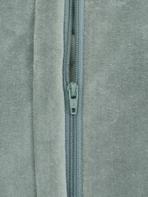 Samt-Kissenhülle Sina in Salbeigrün mit Strukturmuster, Samt (100% Baumwolle), Grün, 45 x 45 cm