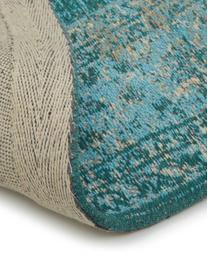 Federa arredo rotonda in ciniglia Lodge, Retro: 100% cotone, Turchese, azzurro, crema, Ø 200 cm (taglia L)