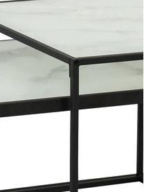 Komplet stolików kawowych Bolton ze szklanym blatem, 2 elem., Stelaż: metal malowany proszkowo, Biały, Komplet z różnymi rozmiarami