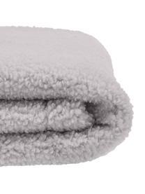 Plaid in teddy Mille, Retro: 100% poliestere, Grigio chiaro, Larg. 150 x Lung. 200 cm