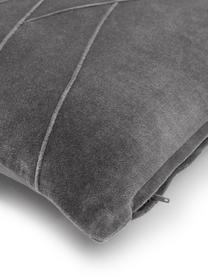 Poduszka z aksamitu z wypełnieniem Pintuck, Tapicerka: 55% rayon, 45% bawełna, Szary, S 45 x D 45 cm