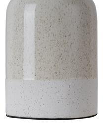 Lampada da comodino in ceramica Sandy Glow, Paralume: lino, Base della lampada: ceramica, Beige, bianco, Ø 18 x Alt. 33 cm