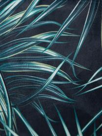 Krzesło tapicerowane Hojas, Tapicerka: 100% poliester, Stelaż: drewno naturalne, Nogi: metal, Odcienie niebieskiego, czarny, S 50 x G 47 cm