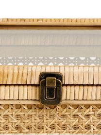 Opbergdoos Granell, Doos: bamboehout, Deksel: glas, Bamboekleurig, 37 x 11 cm