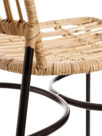 Krzesło z rattanu Adriana, Stelaż: metal lakierowany, Beżowy, S 50 x G 41 cm