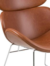 Moderner Loungesessel Cazar aus Kunstleder, Bezug: Kunstleder (Polyurethan), Gestell: Metall, verchromt, Cognac, Chrom, B 69 x T 79 cm