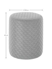 Samt-Hocker Daisy in Grau, Bezug: Samt (Polyester) 84.000 S, Rahmen: Sperrholz, Samt Grau, Ø 38 x H 45 cm