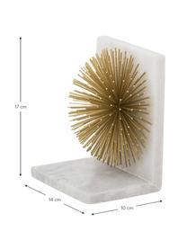 Reggilibri Marburch 2 pz, Ornamento: metallo, Reggilibri: marmo chiaro, dettaglio: dorato, fondo: feltro, Larg. 14 x Alt. 17 cm