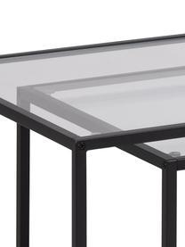 Couchtisch 2er-Set Seaford mit Glasplatte, Gestell: Metall, Schwarz,Transparent, B 90 x T 55 cm