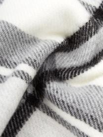 Karierte Decke Neva mit Fransenabschluss, 100% Polyacryl, Schwarz, 130 x 170 cm