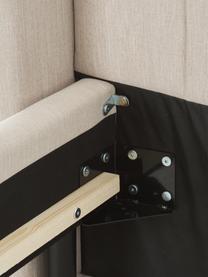 Łóżko tapicerowane Dusk, Tapicerka: tkanina o drobnej struktu, Korpus: lite drewno sosnowe i pły, Nogi: metal malowany proszkowo, Ciemny beżowy, S 200 x D 200 cm