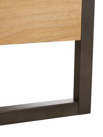 Holzbett Detroit im Industrial Design, Gestell: Mitteldichte Holzfaserpla, Füße: Metall, pulverbeschichtet, Plankeneiche, 160 x 200 cm