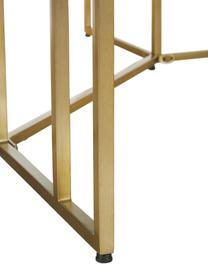 Ovaler Massivholz Esstisch Luca in Braun, Tischplatte: Massives Mangoholz, gebür, Gestell: Metall, pulverbeschichtet, Tischplatte: Mangoholz, dunkel lackiertGestell: Goldfarben, B 180 x T 100 cm