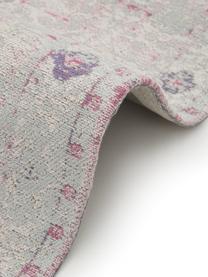 Vintage Chenilleläufer Rimini in Rosa-Hellgrau, handgewebt, Flor: 95% Baumwolle, 5% Polyest, Rosa,Grau, 80 x 250 cm