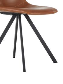 Kunstleder-Polsterstühle Billy, 2 Stück, Bezug: Kunstleder (Polyurethan), Beine: Metall, pulverbeschichtet, Cognac, B 46 x T 58 cm
