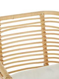 Rattan-Loungestuhl Merete, Sitzfläche: Rattan, Gestell: Metall, pulverbeschichtet, Sitzfläche: RattanGestell: Schwarz, mattKissenhüllen: Weiß, B 72 x T 74 cm