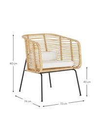Rotan loungestoel Merete, Zitvlak: rotan, Frame: gepoedercoat metaal, Zitvlak: rotankleurig. Frame: mat zwart. Kussenhoezen: wit, B 72 x D 74 cm
