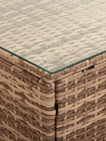Komplet mebli ogrodowych Beigi, 4 elem., Stelaż: imitacja rattanu, Tapicerka: tkanina, Blat: szkło, Brązowy, Komplet z różnymi rozmiarami
