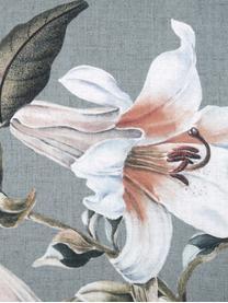 Pościel z satyny bawełnianej Flori, Przód: niebieski, kremowobiały Tył: niebieski, 240 x 220 cm + 2 poduszki 80 x 80 cm