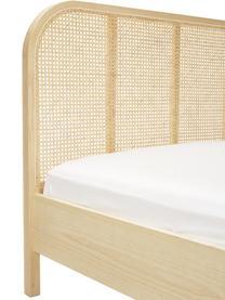 Houten bed Jones met Weens vlechtwerk, Frame: multiplex met essenhoutfi, Poten: massief essenhout, Bruin, 160 x 200 cm