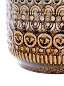 Ręcznie wykonana osłonka na doniczkę z kamionki Finka, Kamionka, Odcienie zielonego, pomarańczowy, Ø 20 x W 15 cm
