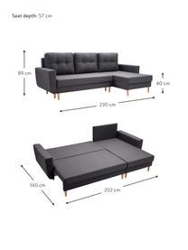 Sofa narożna z funkcją spania i miejscem do przechowywania Neo (4-osobowa), Tapicerka: 100% poliester, Antracytowy, S 230 x G 140 cm