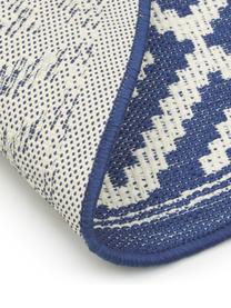 Gemusterter In- & Outdoor-Teppich Miami in Blau/Weiß, 86% Polypropylen, 14% Polyester, Weiß,Blau, Ø 140 cm (Größe M)