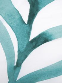 Baumwollperkal-Bettwäsche Francine mit Blattmuster, Webart: Perkal Fadendichte 180 TC, Vorderseite: Grün, WeißRückseite: Weiß, 240 x 220 cm + 2 Kissen 80 x 80 cm