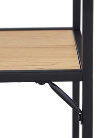 Regał z drewna i metalu Seaford, Stelaż: metal malowany proszkowo, Czarny, drewno dzikiego dębu, S 77 x W 175 cm