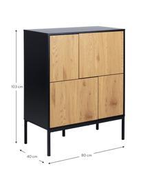 Commode avec portes en bois et métal Seaford, Noir, bois de chêne sauvage