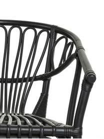 Rotan armstoel Ganga, Rotan, gelakt met weerbestendige coating, Zwart, B 56 x D 60 cm
