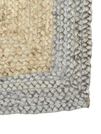 Handgemaakt juten vloerkleed Shanta met grijze rand, 100% jute, Beige, grijs, B 80 x L 150 cm (maat XS)
