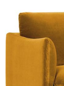 Divano 3 posti in velluto giallo senape Moby, Rivestimento: velluto (copertura in pol, Struttura: legno di pino massiccio, Piedini: metallo verniciato a polv, Velluto giallo senape, Larg. 220 x Prof. 95 cm