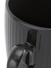 Tasse à café avec rainures décorative Groove, 4pièces, Noir