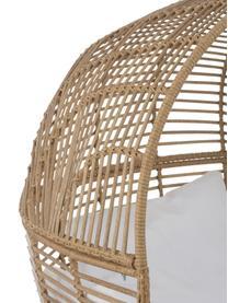 Fotel wypoczynkowy z rattanu Oval, Brązowy, biały, S 115 x W 148 cm