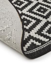 Gemusterter runder In- & Outdoor-Teppich Miami in Schwarz/Weiß, 86% Polypropylen, 14% Polyester, Weiß, Schwarz, Ø 200 cm (Größe L)